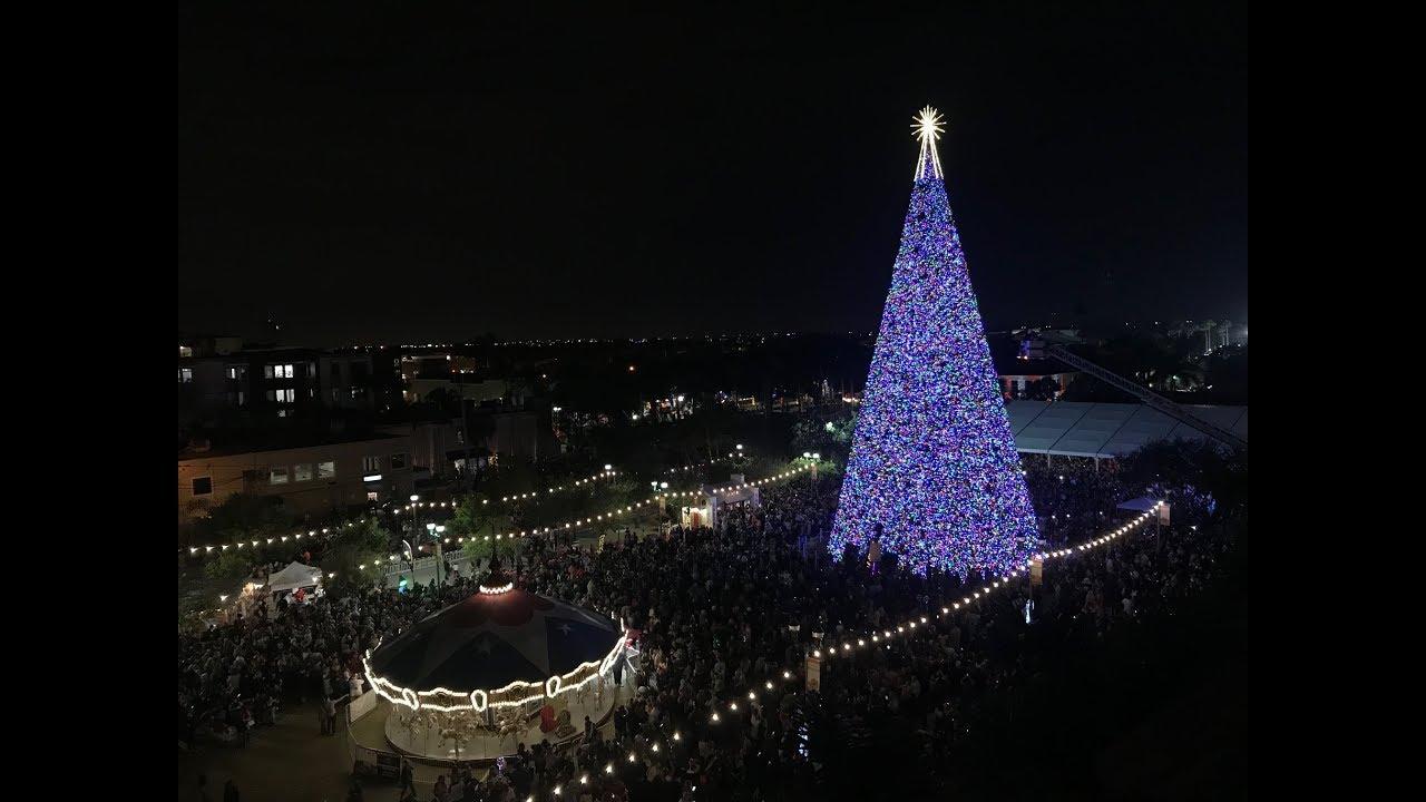 Delray Christmas Tree Lighting 2021 Santa Lights 100 Foot Christmas Tree Delray Beach Florida Youtube
