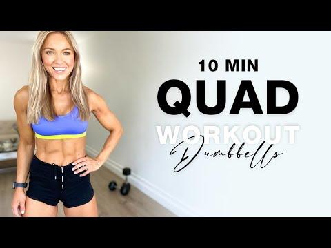 10 Min DUMBBELL LEG WORKOUT at Home   Quad Focused