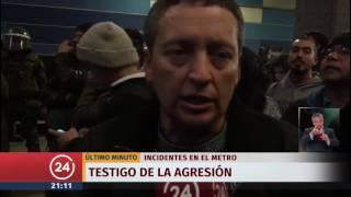Incidentes en metro Tobalaba por supuesta agresión de un guardia contra joven evasor