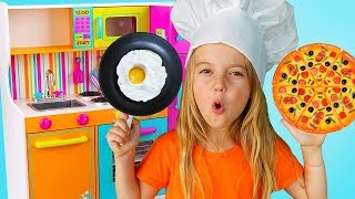 Girl plays with cute kitchen & Food Truck toy