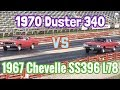 1967 Chevelle SS396 L78 vs 1970 Plymouth Duster 340 - PURE STOCK DRAG RACE + history/specs