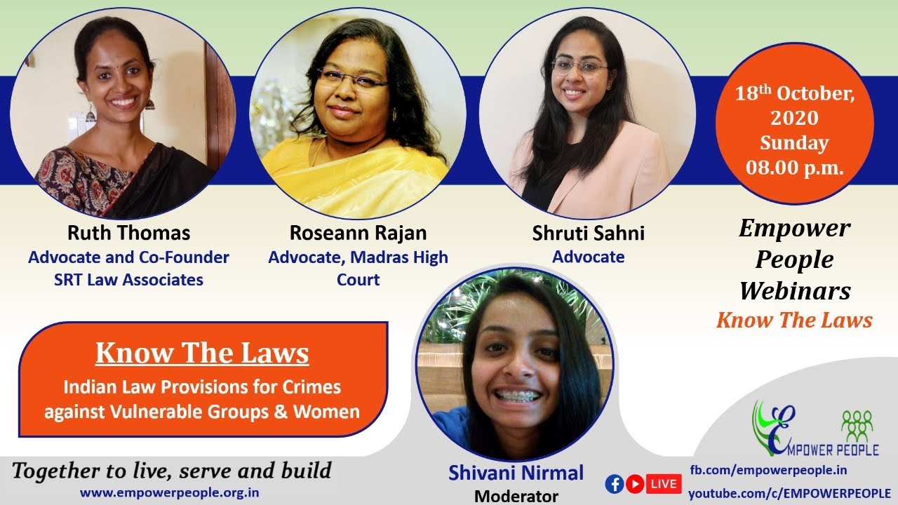 Know The Laws:  Indian Law Provisions for Crimes against Vulnerable Groups & Women