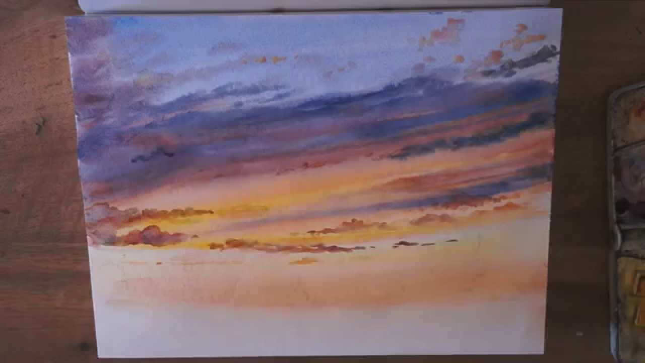 Demo Aquarelle Coucher De Soleil Sunset Watercolor Tutorial