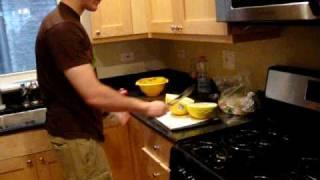 chopping the casaba melon
