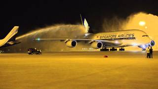 First Airbus A380 arrival in Delhi receives water cannon salute