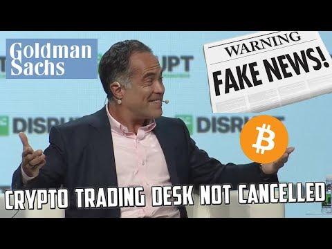 Goldman Sachs CFO Calls FAKE NEWS on Reports of Crypto Trading Desk