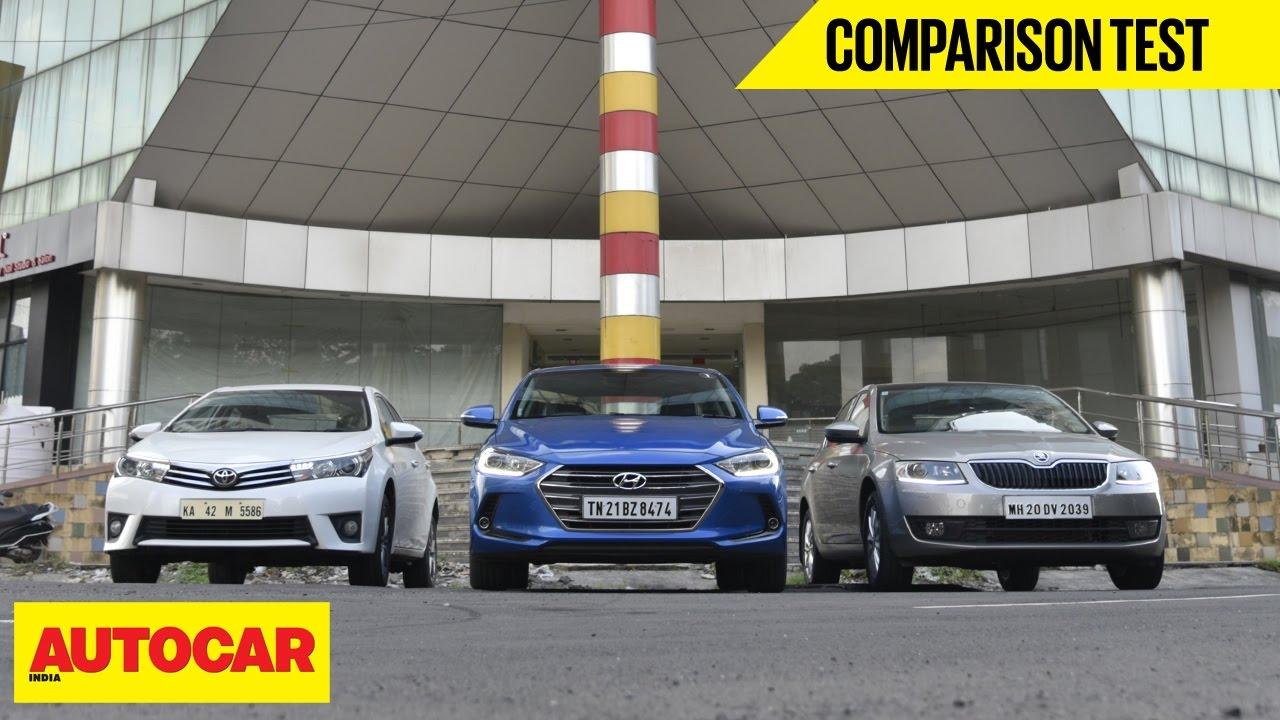 New Corolla Altis Vs Skoda Octavia Innova Venturer Hyundai Elantra Toyota Comparison Test Autocar India Youtube