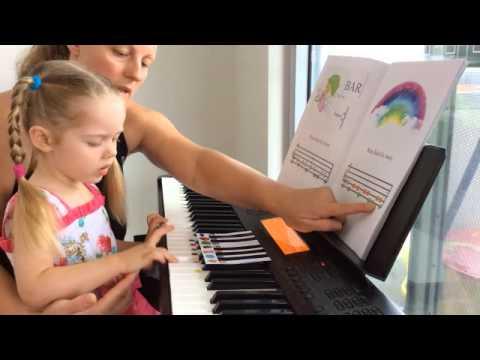 Piano Lesson with 3yo toddler Tutorial how to use Piano Games Books  Natasha Mikhaylova