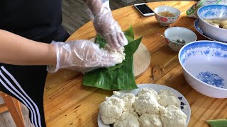 Mẹ Chồng Nàng Dâu tự tay quay clip và làm bánh khoai mì hấp chuối cực vui và ngon | HOTBOY TRÀ SỮA
