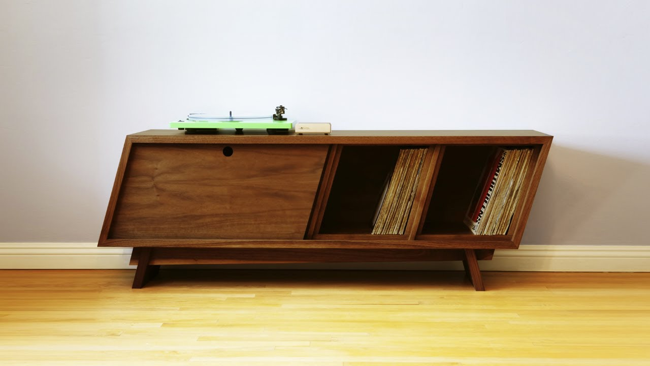 Build A Mid Century Modern Record Player Cabinet Woodworking Youtube
