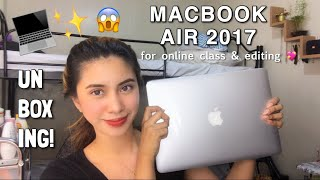 UNBOXING MY NEW LAPTOP (macbook air 2017) for online class & editing | Elaine Tecson