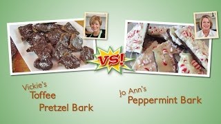 Toffee Pretzel Bark Vs. Chocolate Peppermint Bark
