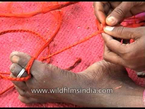 Village women make jute products in South India, wind thread around their toes!