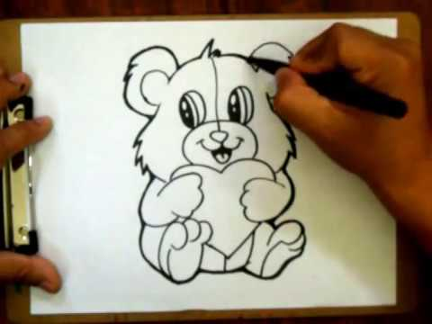 How To Draw A Valentines Teddy Bear With A Heart   For Valentines  (Requested)