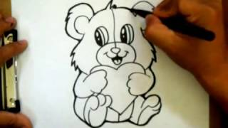 How to Draw a Valentines Teddy bear with a heart - (Requested)