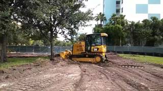Removing tree with a D5K Dozer