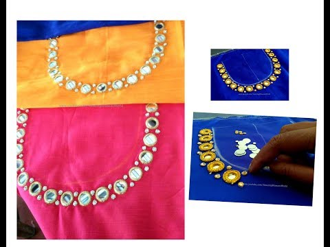 Mirror & Stone Work Neck Designing on Blouse/ Churidar / Kurti -Very Simple & Easy making at home