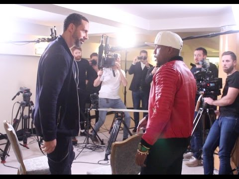 FLOYD MAYWEATHER MEETS RIO FERDINAND AS HE ARRIVES AT LONDON PRESS CONFERENCE FOR DAVIS v WALSH