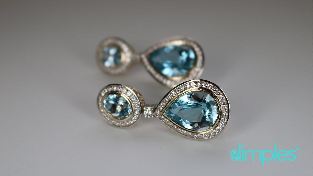 Custom Aquamarine And Diamond Earrings Youtube