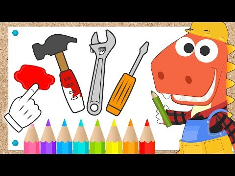 learn-with-eddie:-how-to-color-in-tools-🛠-eddie-the-dinosaur-colors-in-a-hammer-and-a-monkey-wrench