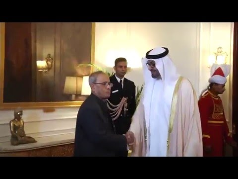 Crown Prince of United Arab Emirates calling on the President of India at Rashtrapati Bhavan