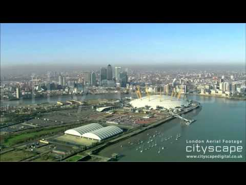 London Aerial Footage - O2 Arena and Canary Wharf (HD)