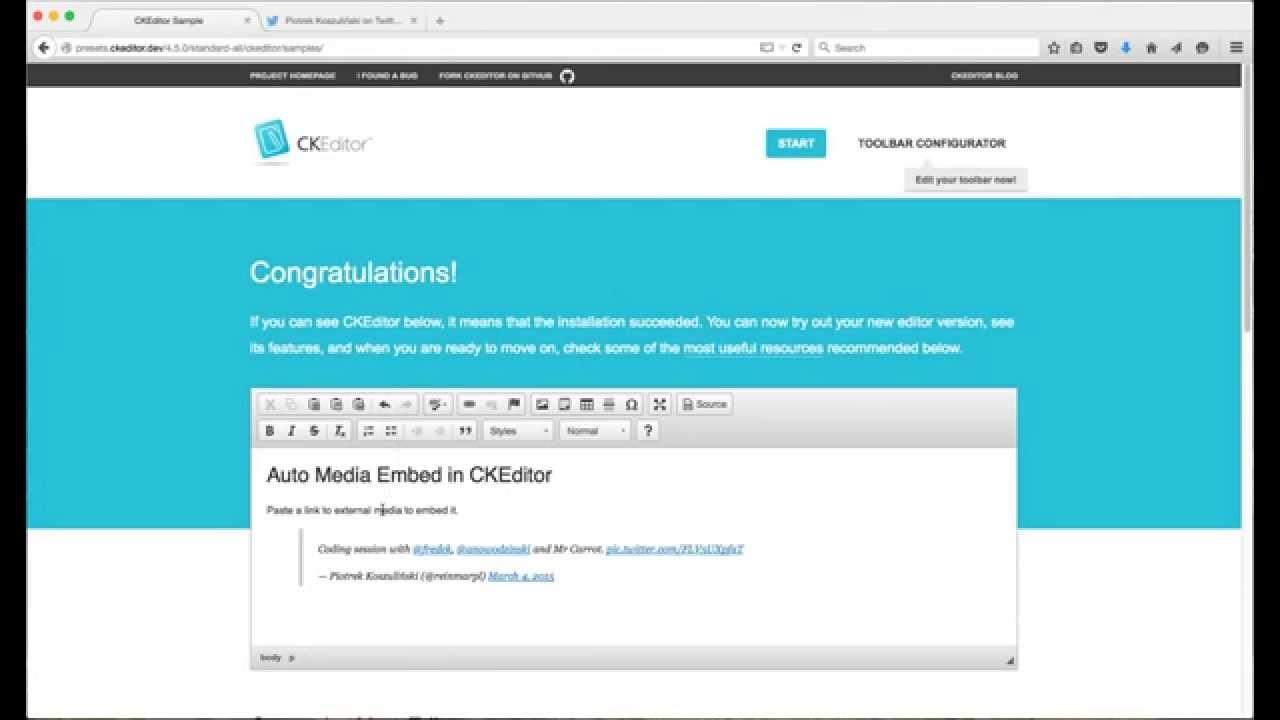 CKEditor 4 5 - Automatic Media Embedding Demo