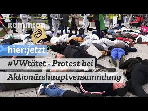 Protest gegen die Aktionärshauptversammlung des Volkswagen-Konzerns in Berlin