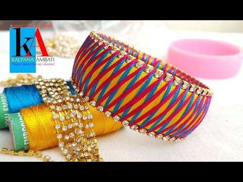 making silk thread bangles 3 Colour Weave Silk Thread Bangles / Bracelet / Kada Diamond Design