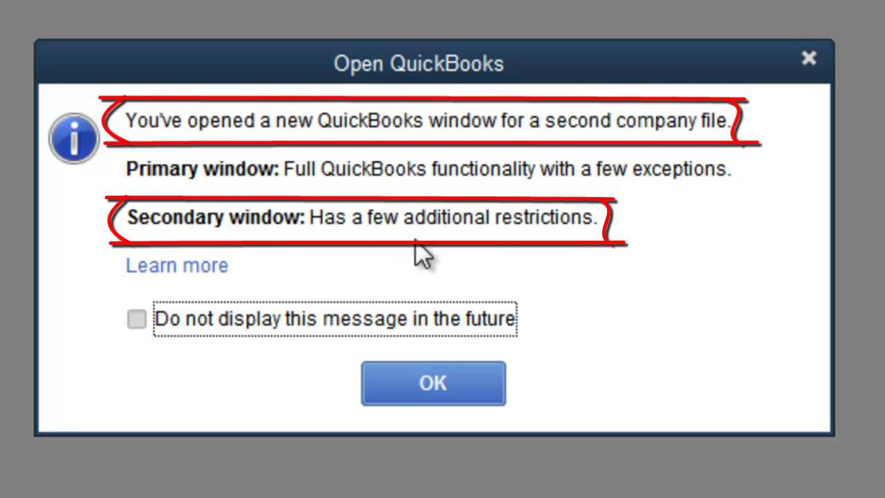 QuickBooks - How To Open 2 Company Files At The Same Time