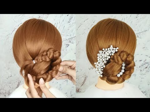 Latest Bridal Hairstyle 2019 Tutorial - Beautiful Hairstyle For Wedding | Bun Hairstyles With Braids thumbnail