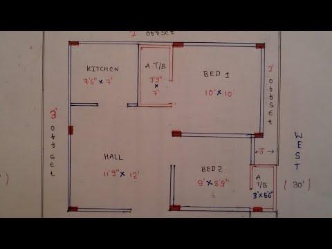 30 × 30 North face house plan map naksha