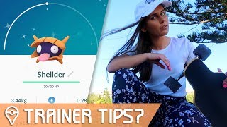 #5 - SHINY HUNTING SHELDER! Trainer Tips | Pokémon GO Vlog - Impersonation Series | ZoeTwoDots