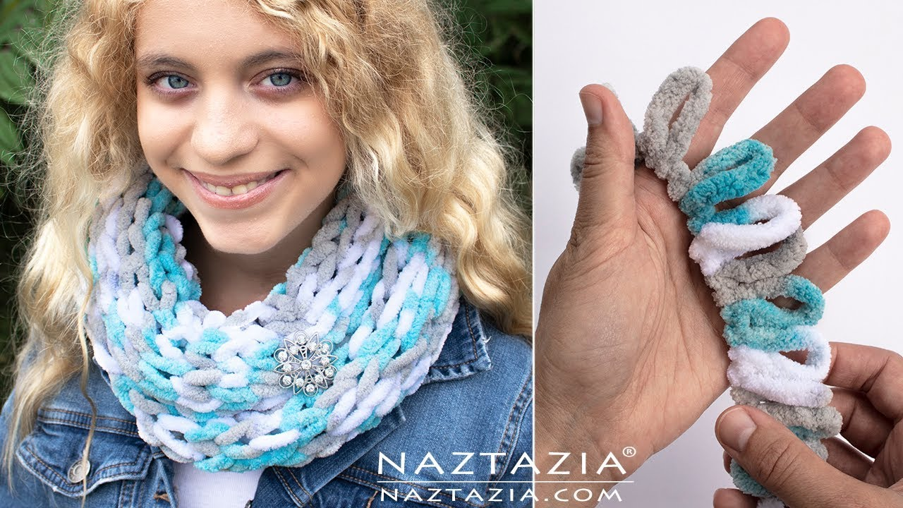 How To Make A Loop Yarn Scarf And Finger Knit With Loop It Yarns By