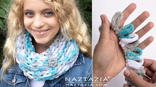How to Make a Loop Yarn Scarf and Finger Knit with Loop It Yarns by Naztazia