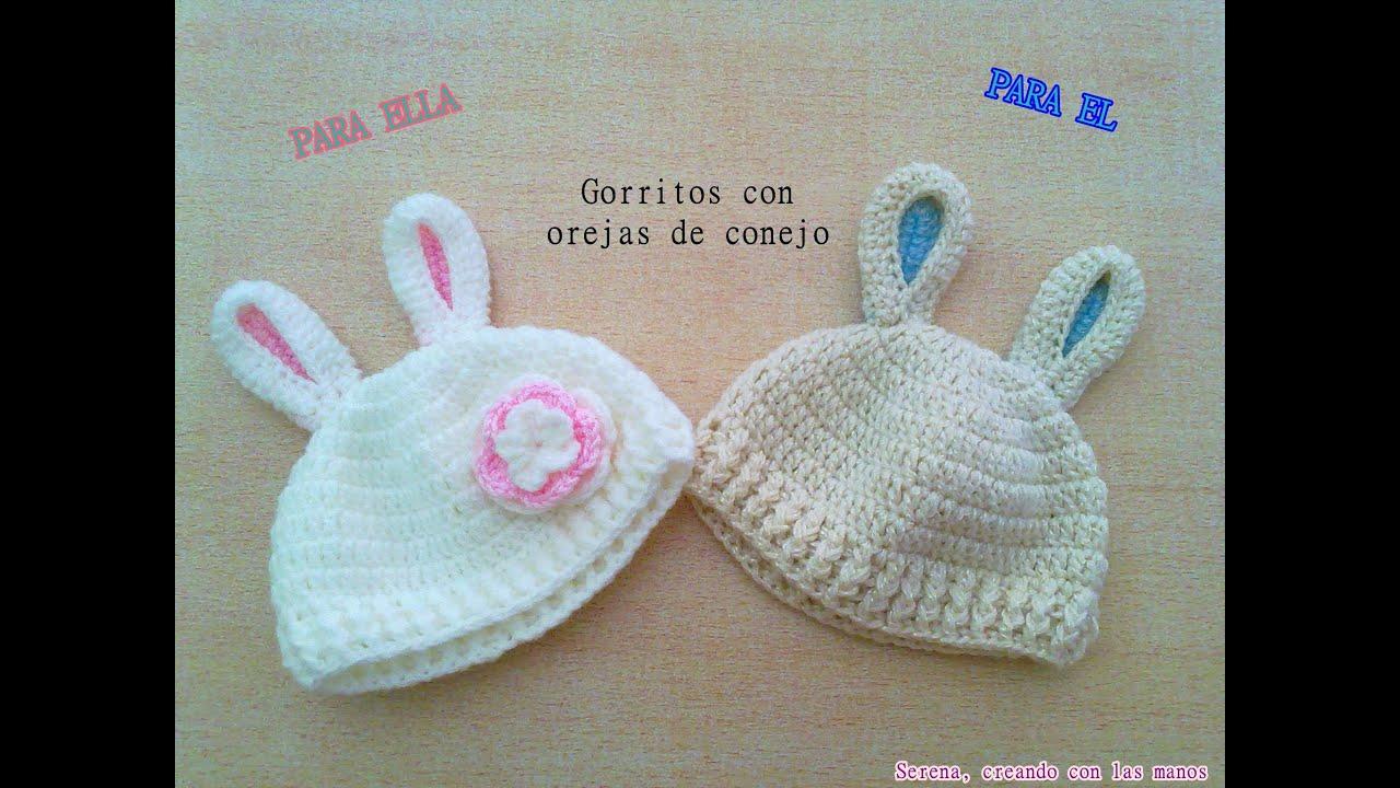 DIY Patron Gorro crochet ganchillo con orejas de conejo para bebe (1 ...