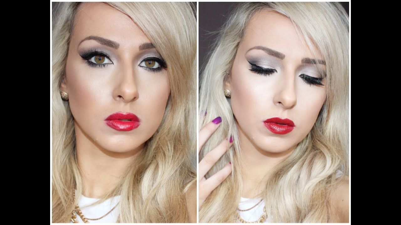 Glam Winter Makeup Look With Classic Red Lip Elizabeth Arden And