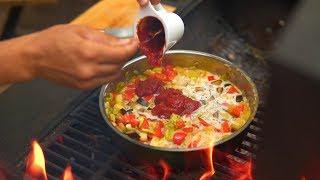 Паста в сливочно-томатном соусе с сезонными овощами