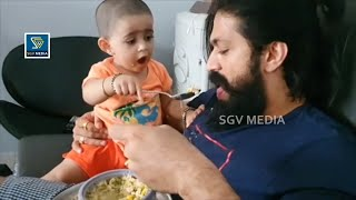 Ayra Yash Feeding Father Cute Video | Ayra Yash New Video | Rocking Star Yash Daughter