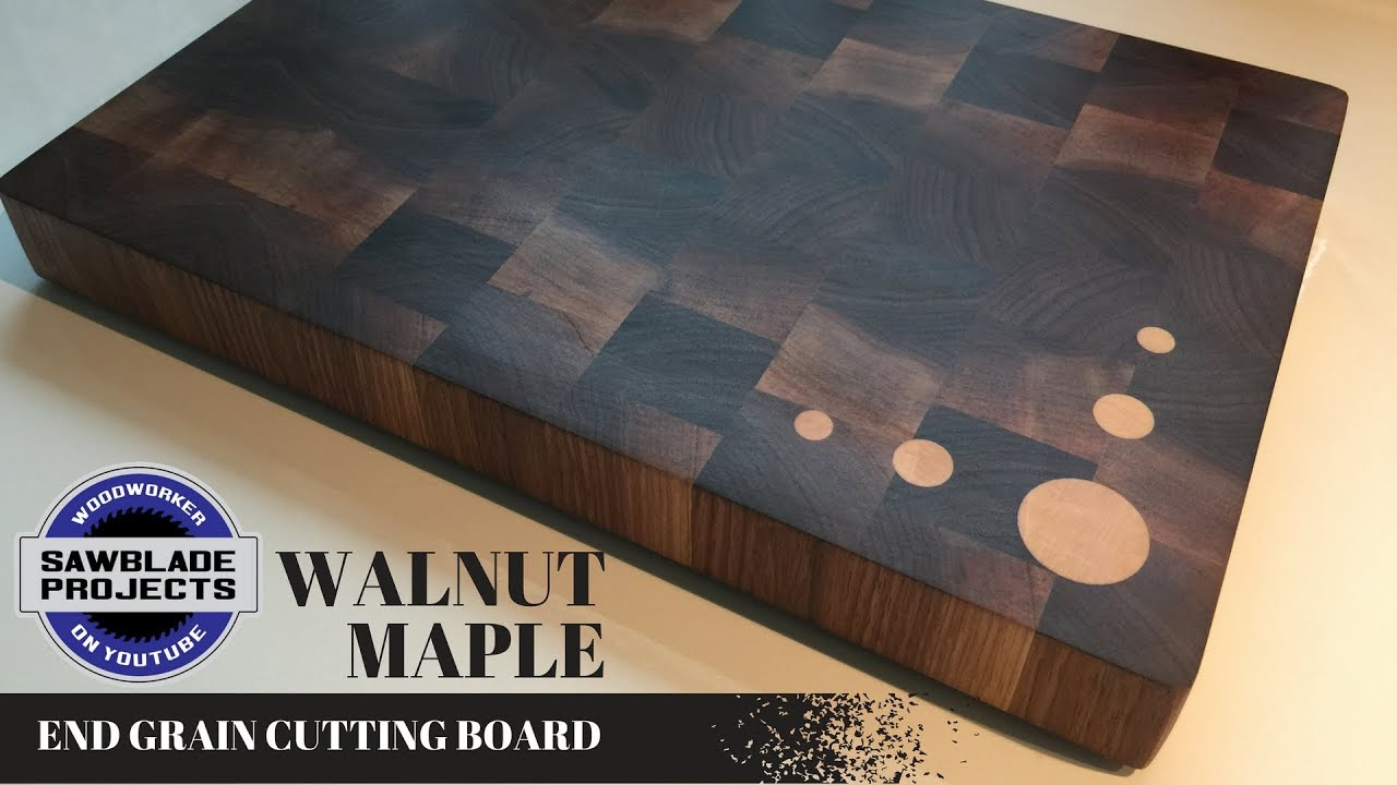 The Walnut End Grain Cutting Board With Maple Inlays
