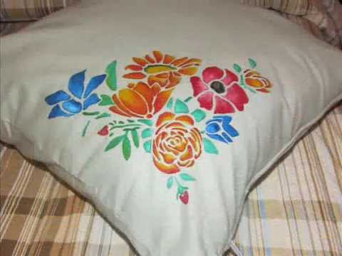 Tutorial pittura su stoffa decorazione cuscino youtube for Cuscini dipinti