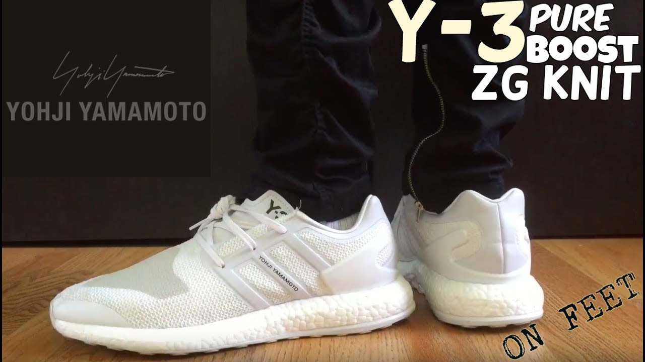 556b60e758c5 ADIDAS Y-3 PURE BOOST ZG KNIT  WHITE  ON FEET - YouTube