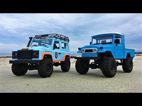 MN Model MN99 & MN45 - RC Cars Land Rover & Land Cruiser Full Throttle at the Beach!