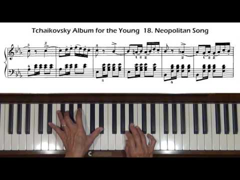 Tchaikovsky Album for the Young  No. 18 Neopolitan Song Piano Tutorial