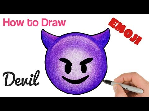 How To Draw Happy Devil Emoji | Smiling Face With Horns Drawing