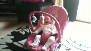 German Shepherd Dog making baby laugh hysterically.