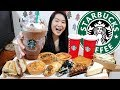 STARBUCKS! Holiday Drinks Dark Mocha Peppermint Latte, Cakes Pies & Sandwiches | Eating Show Mukbang
