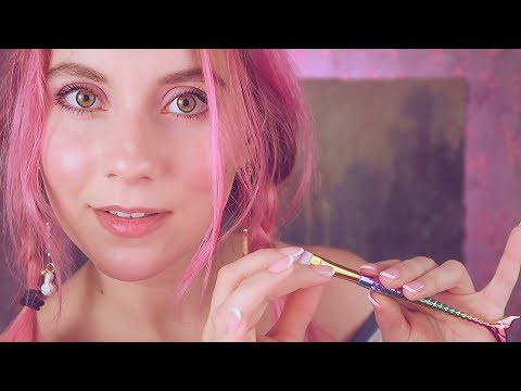 ASMR  - Ear & FACE BRUSHING - I will make you melt .. EAR to EAR WHISPER Close up + breathing sounds thumbnail