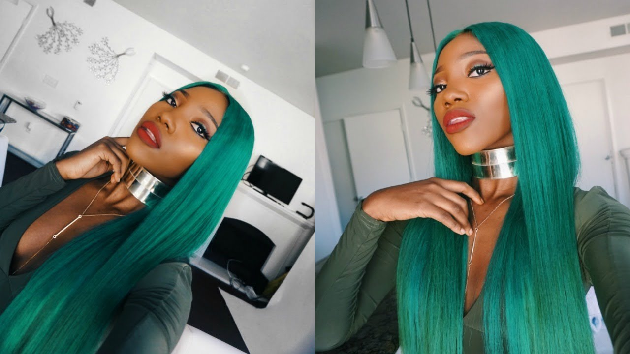 Diy Kylie Jenner Inspired Green Wig On Dark Skin Mose Luxe Hair