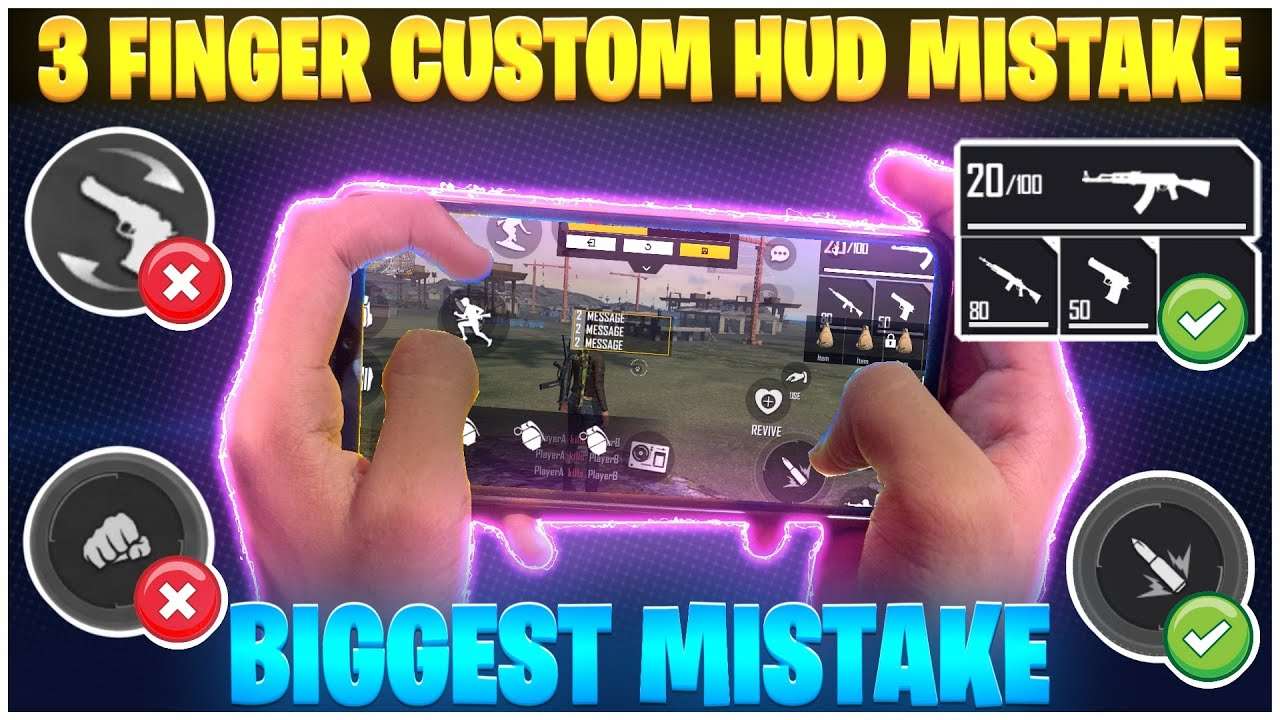 3 Finger Custom HUD Mistakes Makes You Noob 🔥| How To Play 3 Finger Claw In Free Fire 👽